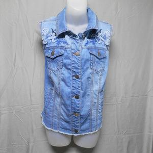 CJ Banks sleeveless denim button vest womens X